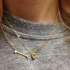 Tiny Gold Capital Initial Necklace - JewelMint