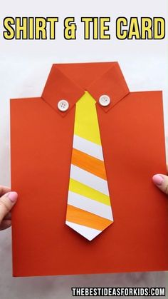 Get the free tie template to make this cute Shirt & Tie card for Dad! Perfect Father's Day Card kids can make. Father's Day Craft for Kids, Father's Day Craft for Preschoolers, Tie template. by janis Easy Kids Crafts Tutorial, Easy Paper Crafts, Paper Shi Craft Activities, Preschool Crafts, Fun Crafts, Arts And Crafts, Decor Crafts, Fathers Day Art, Happy Fathers Day, Fathers Day Crafts Preschool, Fathers Day Ideas