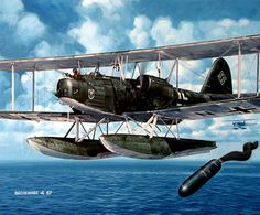 1039 Heinkel He 59 dropping areal mines