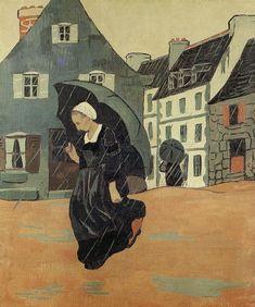 Paul Sérusier - L'averse, 1893*保羅、塞律西埃 是納比派創始人,該派只維持了十年因風格差異性太大而解散。納比是取自希伯來語「先知」是巴黎朱利安美術學院一群青年畫家組成。
