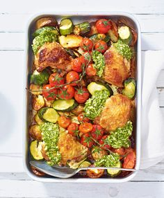 A quick, nutritious midweek dinner packed full of mediterranean flavours. We've used chicken thighs and dollops of pesto for extra flavour.