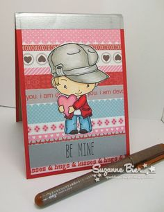 "Mini notepad cover featuring stamps by The Greeting Farm ""Oliver & Amelia Valentine"""