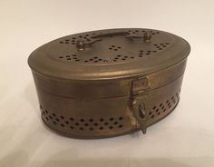 Midcentury Brass Cricket Box Asian Brass Box by RetroUrbanWares