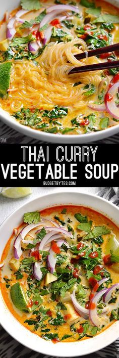 Thai Curry Vegetable Soup is packed with vegetables, spicy Thai flavor, and creamy coconut milk. BudgetBytes.com #asianfoodrecipes