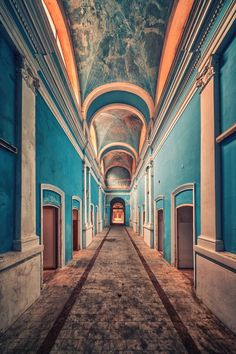 Beautiful blue abandoned hallway
