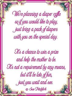 Love this diaper wishing well poem | Poem: diaper raffle baby shower invitation (w/printab...