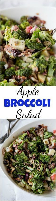 Broccoli Salad Recipe - roasted broccoli salad with bacon, apples, cranberries, almonds, sunflower seeds and a creamy poppy seed dressing! #broccoli #salad #thanksgivingsides #poppyseeddressing #fallsalads