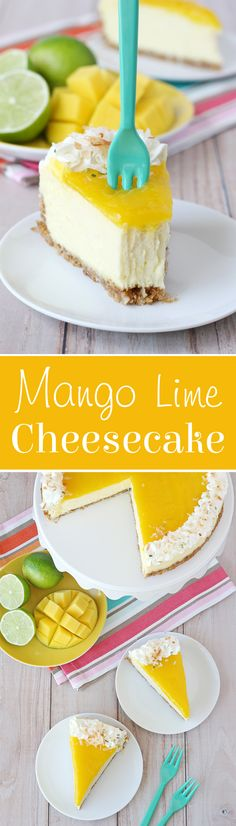 Lime Cheesecake - Glorious Treats This Mango Lime Cheesecake is rich, creamy and bursting with tropical flavor!This Mango Lime Cheesecake is rich, creamy and bursting with tropical flavor! Sweet Desserts, Just Desserts, Delicious Desserts, Yummy Food, Tropical Desserts, Oreo Desserts, Lime Cheesecake, Cheesecake Recipes, Dessert Recipes