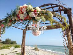 Wedding alter beach with chandelier