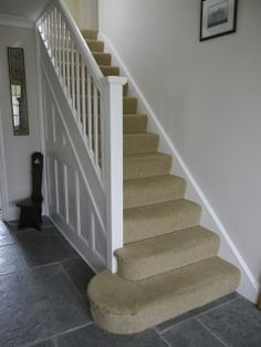 Dulux nutmeg white walls + slate tile floor. Stairs would look better with a thicker (?e.g. coir carpet) Living Room White, Paint Colors For Living Room, Interior Design Living Room, Hallway Paint, White Hallway, Tile Stairs, Hallway Flooring, Houses, Dekoration
