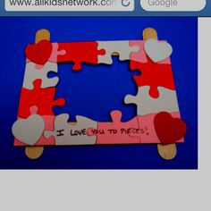Valentines day craft frame puzzles paint with acrylic paint