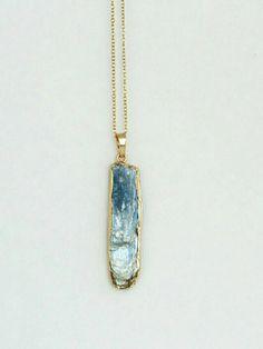 Blue Kyanite necklace - blue Kyanite pendant - Kyanite bar charm - Rustic Kyanite Jewelry - Bohemian necklace -Icy Blue Boho jewelry by TheRusticBohoChic on Etsy
