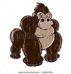 Funny Cartoon Gorilla. #cartoon #gorilla #vintage
