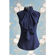 OL Style Stand Collar Sleeveless and Ruffled Design Women's Cotton Bow Blouse