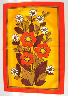 love the colours and pattern Retro 1970s Flower Power Towel Teatowel Orange, Yellow, Brown and White. £19.99, via Etsy.