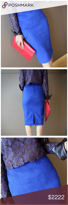 ‼️ COMING SOON Blue Microfiber Faux Suede Skirt ‼️‼️ PLEASE LIKE THIS LISTING TO BE NOTIFIED WHEN THIS ITEM IS LISTED ‼️‼️ Skirts