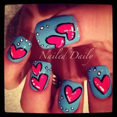 hearts nails it sooooo cute i am going try it next time