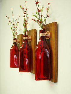 Set of 3 Triangle Bottles, Wall Decor, each mounted on wood base for unique rust. Set of 3 Triangle Bottles, Wall Decor, each mounted on wood base for unique rustic decor for bedroom decor kitchen decor. Rustic Walls, Rustic Wall Decor, Country Decor, Rustic Wood, Farmhouse Decor, Red Wall Decor, Bottle Wall, Diy Bottle, Wine Bottle Crafts