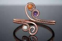 Adjustable copper bracelet with Amethyst, Pearls, and Aventurine Another version for my 4 coil bracelets
