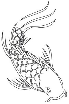 Graceful, flowing lines create a unique koi fish design. Downloads as a PDF. Use pattern transfer paper to trace design for hand-stitching.