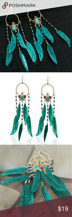Bohemia Blue Beads Tribal Feather Long Earrings Material: Feather Metals Type: Zinc Alloy Jewelry Earrings