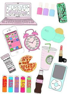 Image via We Heart It https://weheartit.com/entry/159994014/via/27109668 #background #clock #makeup #phone #pizza #things #wallpaper #several