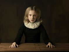 Marie Cecile Thijs, Girl with White Collar at Table, 2010, White Collar series. Photo: Courtesy Galerie Eduard Planting.