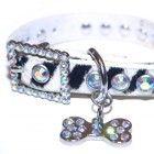 Leather Zebra Faux Fur Crystal Rhinestone Dog Collar w/Bling Dog Pendant www.CrystalCase.com