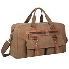Coreal Large Vintage Canvas leather Travel Duffle Bag >>> Be sure to check out this awesome product.
