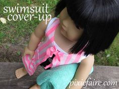 FREE Tutorial - How to make an 18 inch doll swimsuit cover up - step by step pictures in post. Pixie Faire dot com