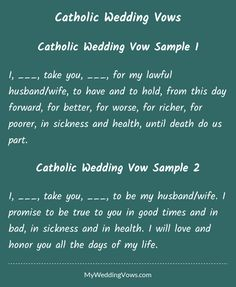 I, ________, take you, ________, for my lawful husband/wife, to have and to hold, from this day forward, for better, for worse, for richer, for poorer, in sickness and health, until death do us part. I, ________, take you, ________, to be my...