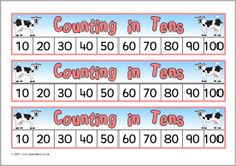 Here's an assortment of farm-themed number tracks for skip counting by 10 to 100.