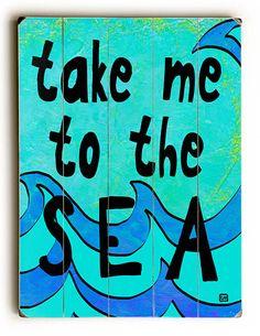 Take Me To The Sea Vintage Sign: Beach Decor, Coastal Decor, Nautical Decor