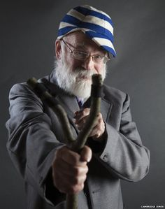 Famous authors dress up as their favourite characters for Cambridge Jones photo shoot - Terry Pratchett as Just Williams