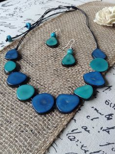 Turquoise bib necklace Tagua nut jewelry by GalapagosTagua on Etsy