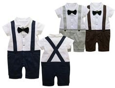 Dark Blue PhD Boys Outfit Romper Suit Tie Bow Wedding Birthday Christmas Party Outfit Free Shipping $8.93