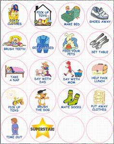 Preschool Chore Pictures | chore chart, chore buddie, preschool, autisum helper