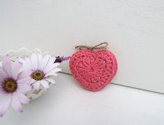 pink crochet heart with a choice of  lavender by BabanCat on Etsy