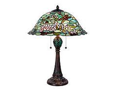 Lampada da tavolo stile Tiffany in vetro e metallo Ines - D 47 cm