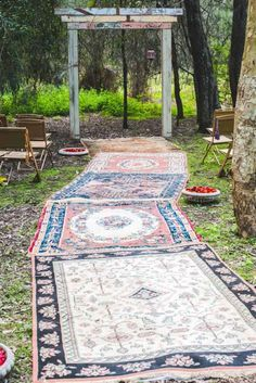 Even one rug right by the alter would be cute!  Moroccan Romance / Wedding Style Inspiration / LANE
