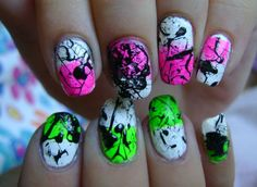 Love it! Neon and white with black splatter - 35 Hot beautiful spring nail ideas | See more at www.nailsss.com/...