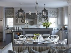 High-End Kitchen - Sarah's Suburban House: New Home, Classic Style on HGTV.  Light, but not white.