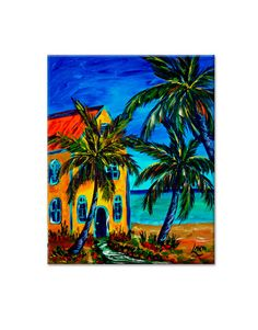 """""""Living In Paradise"""" This giclee print of Glenn's original painting is 16 x 20. The colors are fabulous!! With the custom lobster trap frame, this image is stunning!!! The gilcee comes on a 16"""" x 20"""" canvas and framed is approx. 22"""" x 26"""" overall. The frame is one of our double slat with a window box in the dark wood finish. There is an authentic lobster or stone crab certificate on the face of the frame. Also available without frame. $375.00"""