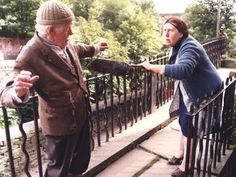 "Last of the Summer Wine (BBC) ""Compo and Nora"" ( Bill Owen and Kathy Staff) Comedy Series, Comedy Tv, Comedy Show, Tv Series, British Tv Comedies, British Comedy, Last Of Summer Wine, English Comedy, British Humour"