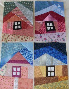 how to do crazy patchwork House Quilt Patterns, House Quilt Block, Crazy Quilt Blocks, Crazy Quilting, Quilting Templates, Quilting Designs, Motifs Applique Laine, Crazy Quilt Tutorials, Optical Illusion Quilts