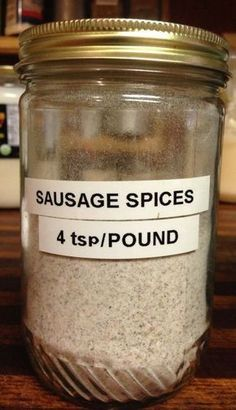 We ate so much sausage, I labeled a jar just for the spices! We ate so much sausage, I labeled a jar just for the spices! Breakfast Sausage Seasoning, Sausage Spices, Homemade Breakfast Sausage, Pork Sausage Seasoning Recipe, Breakfast Sausages, Breakfast Burritos, Sausage Gravy Mix Recipe, Gourmet, Salad Bar