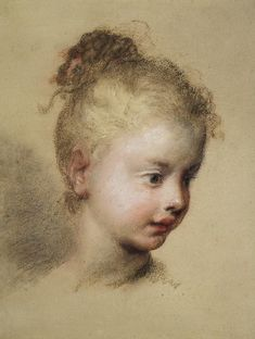 Head of a Child in Profile..1720. By Rosalba Carriera.  Pastel on light grey paper pasted on panel  33x27 cm