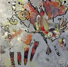 "Check Your Landing Gear, Andie Bogdan, Mixed media on canvas, 10"" x 10"" $225 - AVAILABLE"