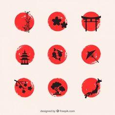 Hand painted japanese elements Premium V. Japanese Tattoo Art, Japanese Tattoo Designs, Japan Tattoo, Japan Logo, Art Japonais, Japan Design, Japan Art, Grafik Design, Sleeve Tattoos