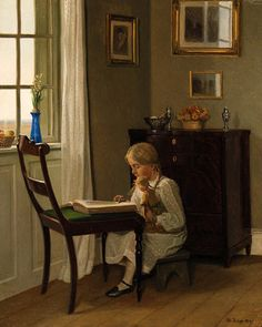 A Young Girl Seated Reading Before The Window - Karl Harald Alfred Broge (Danish 1870-1955) (+++)